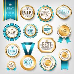 shiny golden prize emblem design