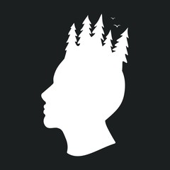 Профиль человека и лес