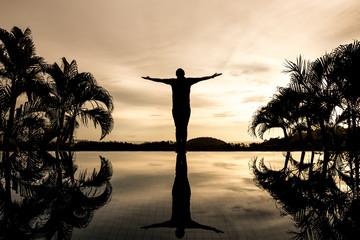 silhouette success man