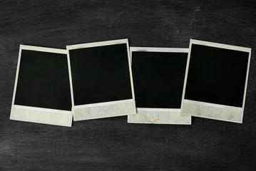 Photo frame of polaroid on black background.