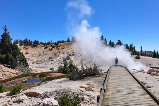 Geothermal scenery at Lassen Volcanic National park, California,