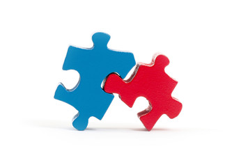 Closeup of big jigsaw puzzle pieces