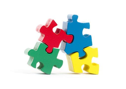 Closeup of big jigsaw puzzle pieces