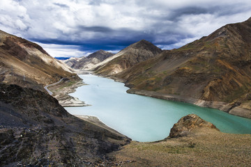 Mountains and lake in Tibet, China