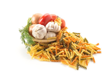 dry pasta spaghetti with ingredient