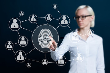 Business woman pressing modern technology web panel with fingerprint print