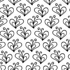 butterfly heart white and black vector seamless pattern