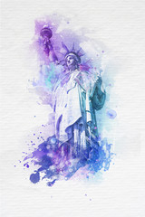 Artistic paint effect of the Statue of Liberty