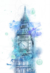 Wall Mural - Colorful paint effect blue Big Ben