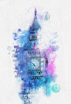 Colorful watercolor of Big Ben , London