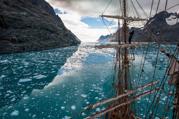 stunning scenery from a tallship in South Georgia Island, sub-Antarctic