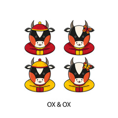 Ox Chinese Happy New Year Vector Illustration