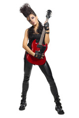 Rock musician in leather clothes