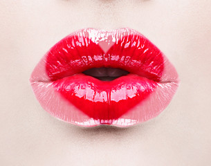 Beauty sexy lips with heart shape paint. Valentines Day
