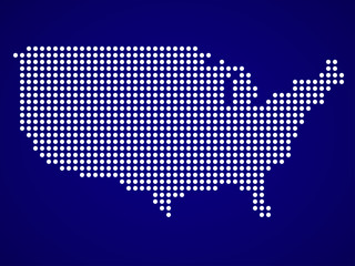 Map of USA from round dots. Vector illustration. Eps 10