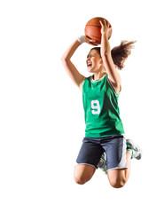 Young girl basketball player