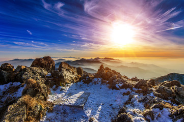 Wall Mural - Winter landscape with sunset and foggy in Deogyusan mountains, S