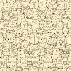 Seamless pattern with funny bears