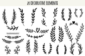 Set of hand drawn vector decorative elements.