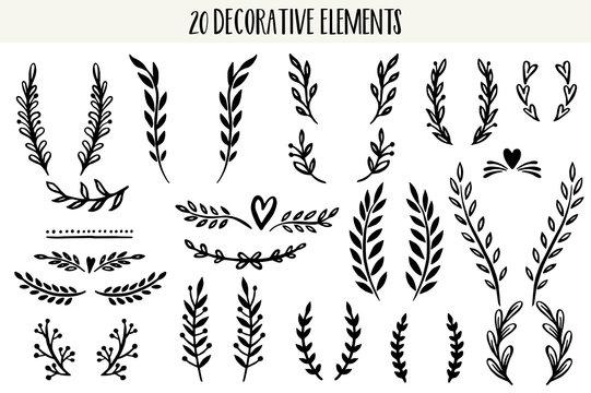 Set of hand drawn vector decorative elements.