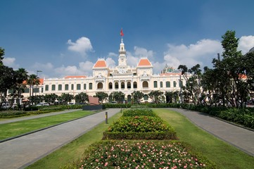 Ho Chi Minh City Hall in Ho Chi Minh City, Vietnam. It is known as Ho Chi Minh City People's Committee Head office and was built in 1902-1908 in a French colonial style.