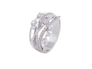 Luxury beautiful silver ring with diamonds isolated on white