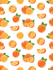 Orange pattern. Vector seamless background with fruit icons.