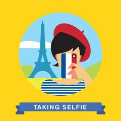 Take a photo selfie in Paris, France