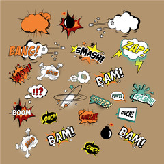 Acrylic Prints Pop Art Comics Sound Effects and Explosions. Vector Illustartion