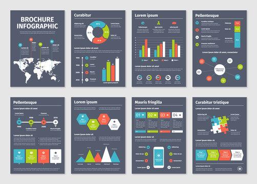 Modern dark business infographic brochure template.