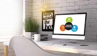 Stylish workplace with computer with Inbound marketing concept o