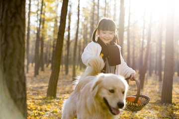 Little girl walking her dog with a basket in autumn woods