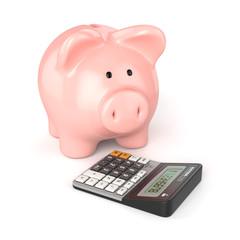 Sparschwein mit einem Taschenrechner auf weissem Hintergrund