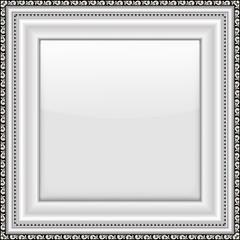 Empty silver picture frame. Vector illustration