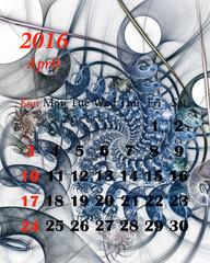 2016. April. Calendar with beautiful fractal pattern.