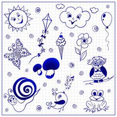 Childish doodles on paper sheet