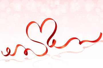Red ribbon heart background