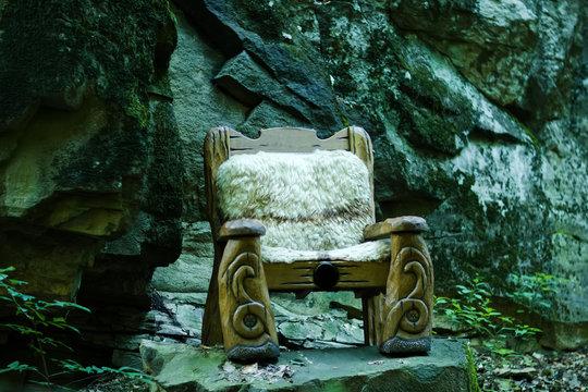 Empty wooden throne