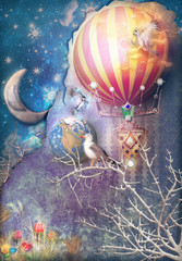 Canvas Prints Imagination Blue and starry background with hot air balloon