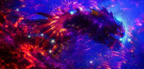 Cosmic dragon in space and stars, blue and red cosmic abstract background. Fire effect