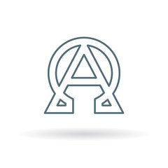Abstract alpha and omega icon. Beginning and end sign. Greek alpha and omega symbol. Alpha and omega logo. Thin line icon on white background. Vector illustration.