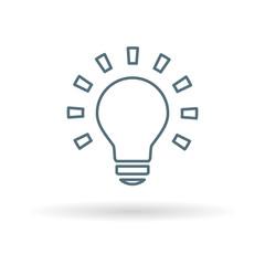 Lightbulb icon. Light bulb sign. Halogen lamp symbol. Thin line icon on white background. Vector illustration.