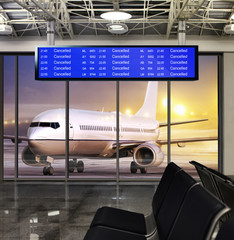 Wall Mural - cancelled flight in winter storm