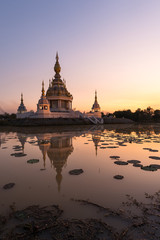 Beautiful buddhist pagoda with dusk sky