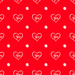 Seamless Red Saint Valentine's Day Pattern Background with Little Cute White Hearts