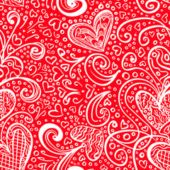 Seamless Red Saint Valentine's Day Pattern Background with Artistic Hearts and Doodles