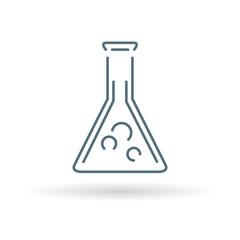 Laboratory beaker icon. Laboratory beaker sign. Laboratory beaker symbol. Thin line icon on blue background. Vector illustration.