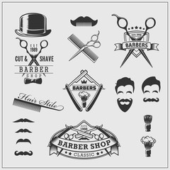 Collection of vintage barber shop labels, logo and design element.