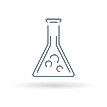 Laboratory beaker icon. Laboratory beaker sign. Laboratory beaker symbol. Thin line icon on blue background. Vector illustration.