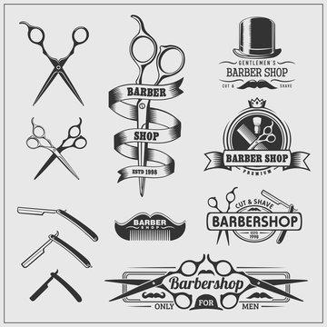 Collection of vintage barber shop labels, logo and design element.